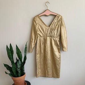 Vintage 1960's Gold Metallic Sheath Party Dress